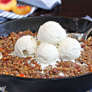 Brown Butter Peach Skillet Crisp | From SugarHero.com