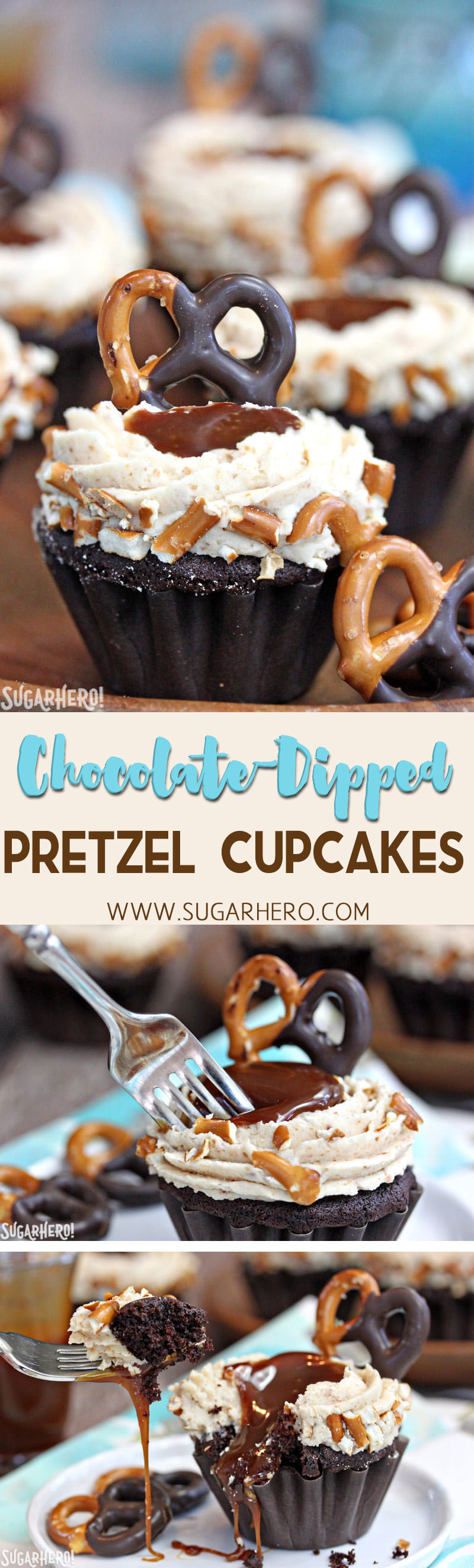 Chocolate-Dipped Pretzel Cupcakes with Pretzel Frosting and Salted Caramel | From SugarHero.com