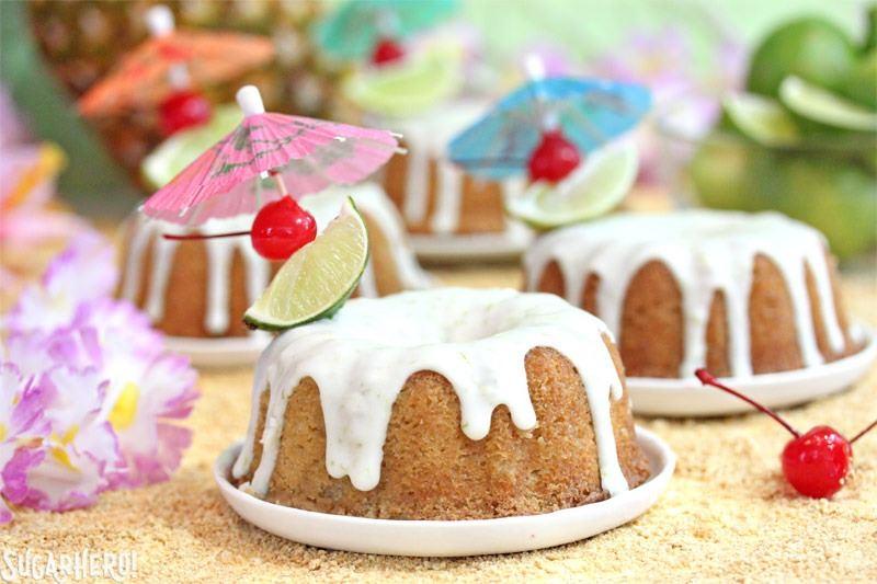 Mai Tai Bundt Cakes | From SugarHero.com