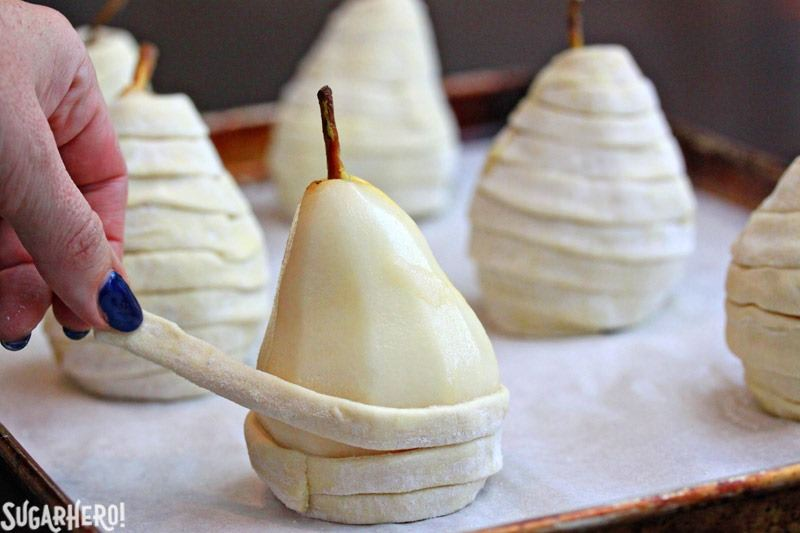 Puff Pastry-Wrapped Pears with Chocolate Espresso Sauce | From SugarHero.com