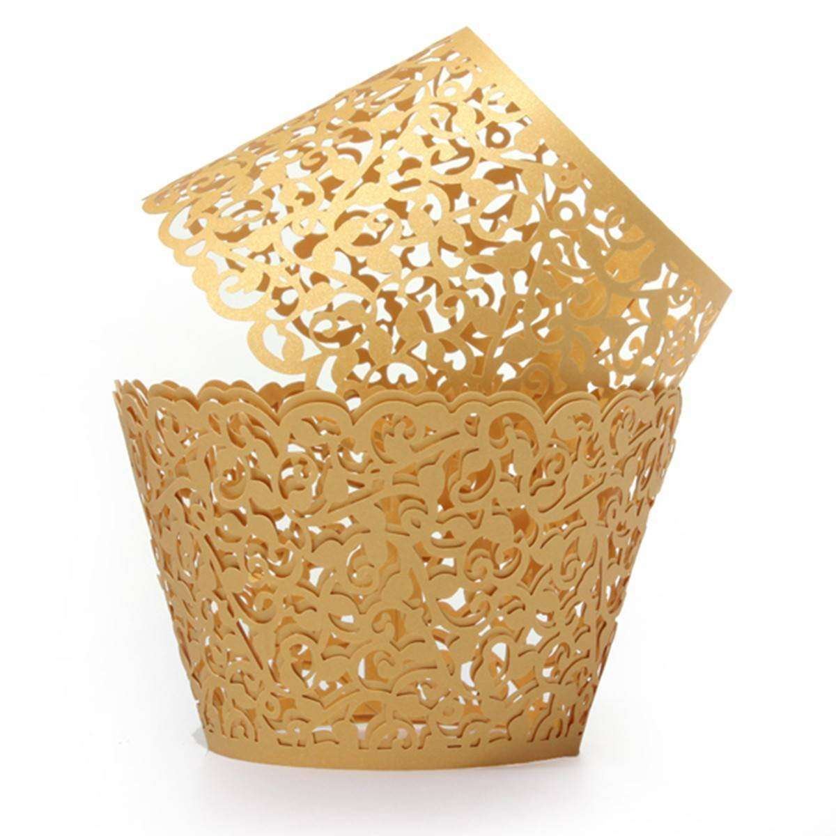 Gold Filigree Cupcake Wrappers