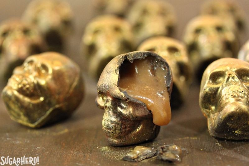 Chocolate Caramel Skulls | From SugarHero.com