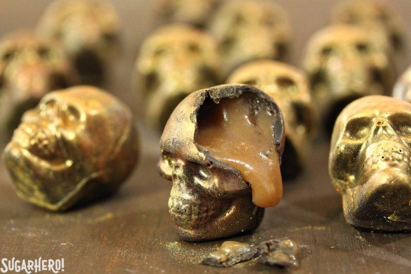 Chocolate Caramel Skulls | From SugarHero.com