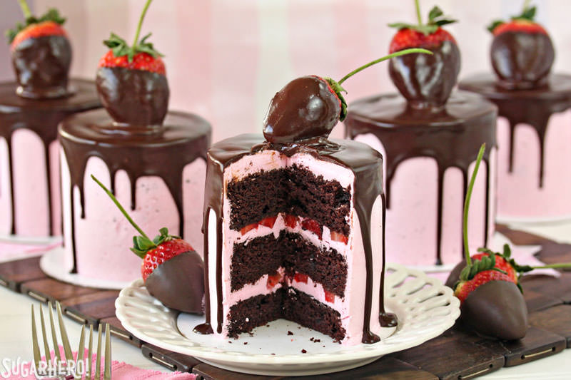 Chocolate Covered Strawberry Cakes | From SugarHero.com