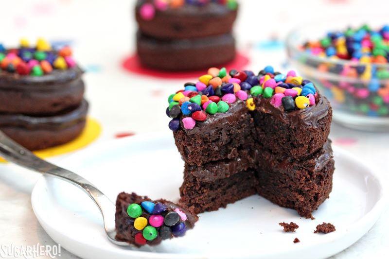 Cosmic Brownie Mini Cakes   From SugarHero.com
