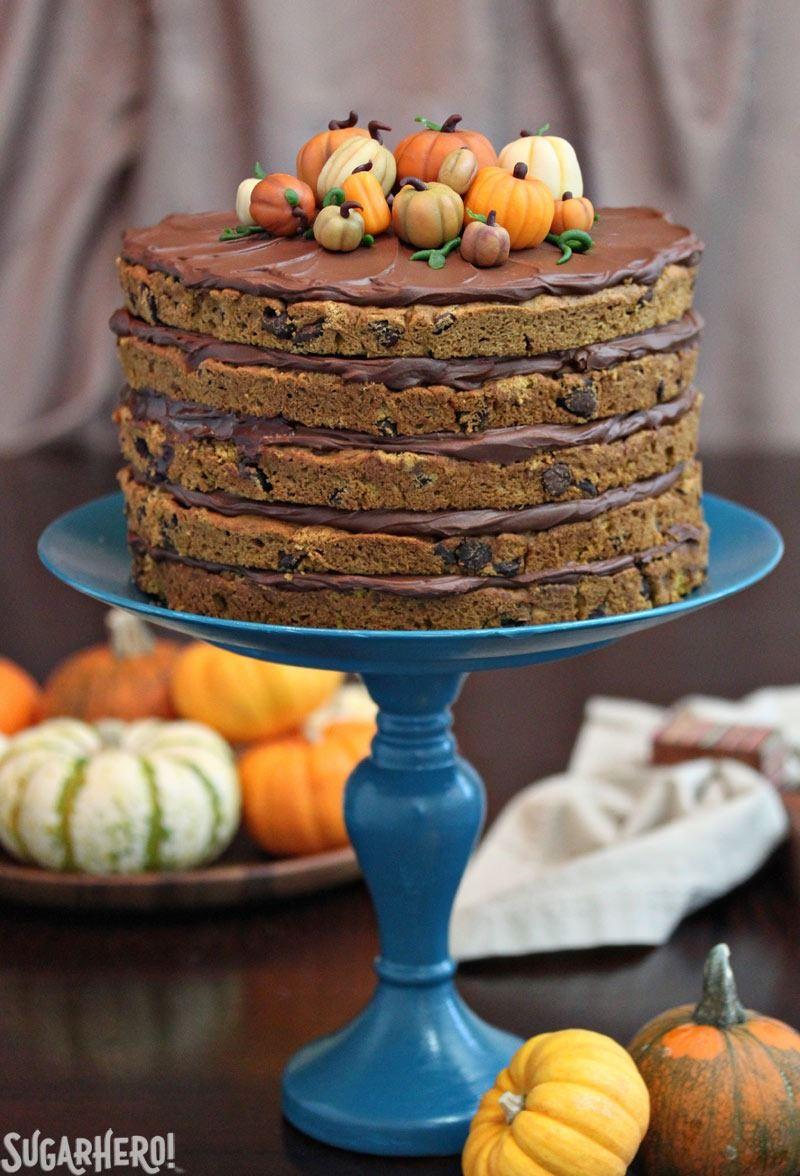 Pumpkin Chocolate Chip Cake | From SugarHero.com