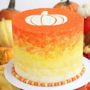 Stenciled Halloween Sprinkle Cake | From SugarHero.com