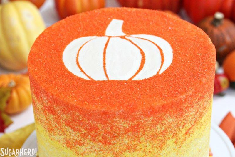 Stenciled Halloween Sprinkle Cake | From SugarHero.com