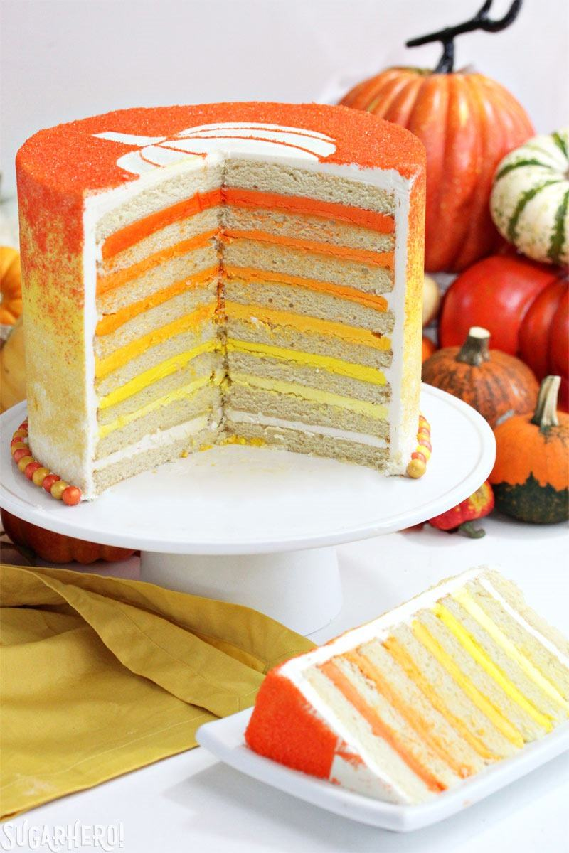 Stenciled Halloween Sprinkle Cake   From SugarHero.com