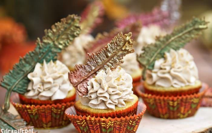 Chocolate Feathers and Thanksgiving Cupcakes   From SugarHero.com