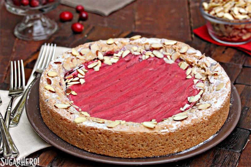 Cranberry Curd Almond Cake | From SugarHero.com