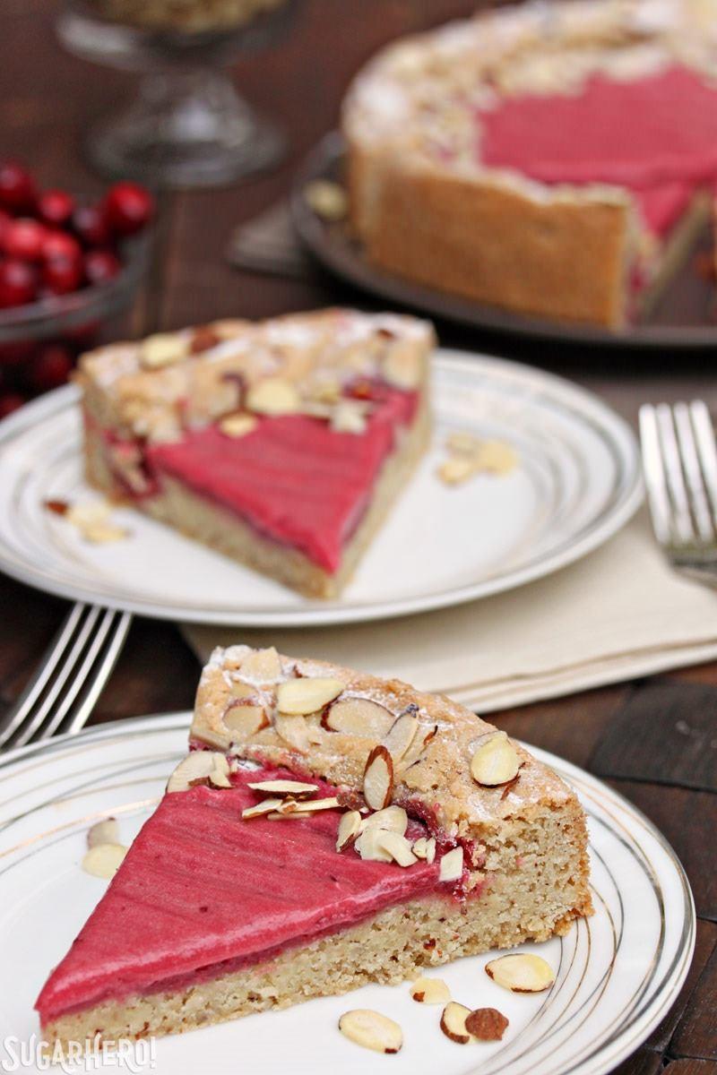 Cranberry Curd Almond Cake   From SugarHero.com