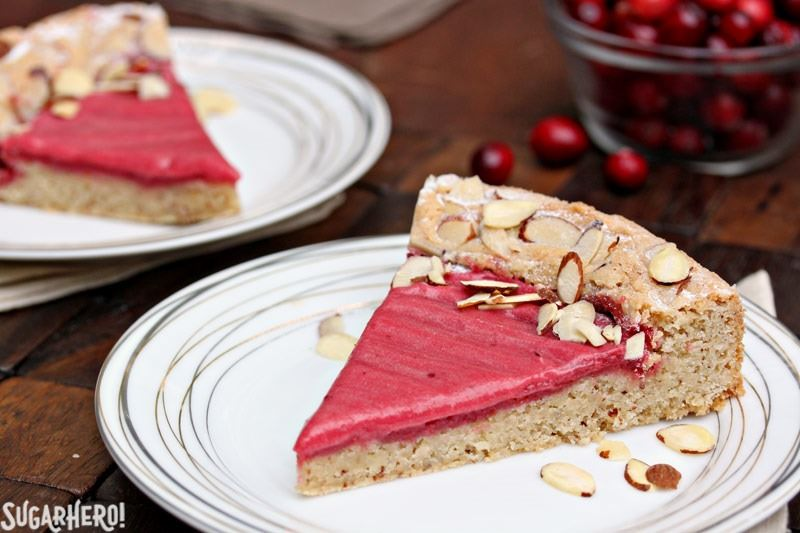 Cranberry Curd Almond Cake | From SugarHero.com
