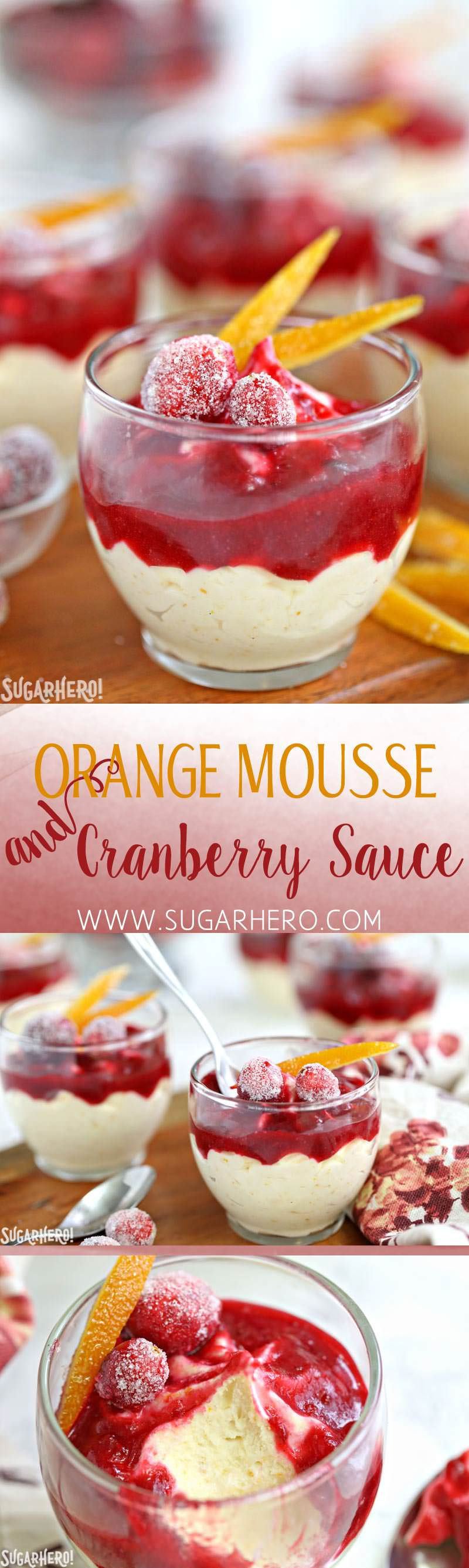 Orange Mousse with Cranberry Sauce | From SugarHero.com