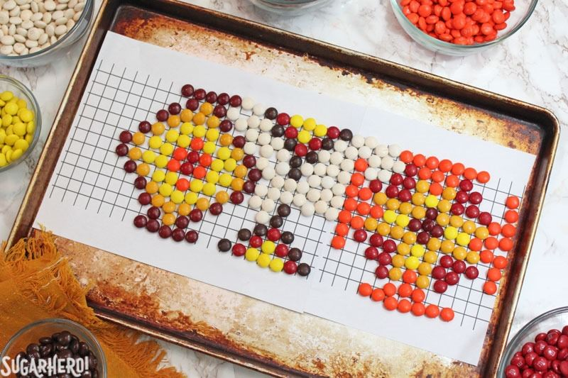 Patterned M&M's Cake | From SugarHero.com