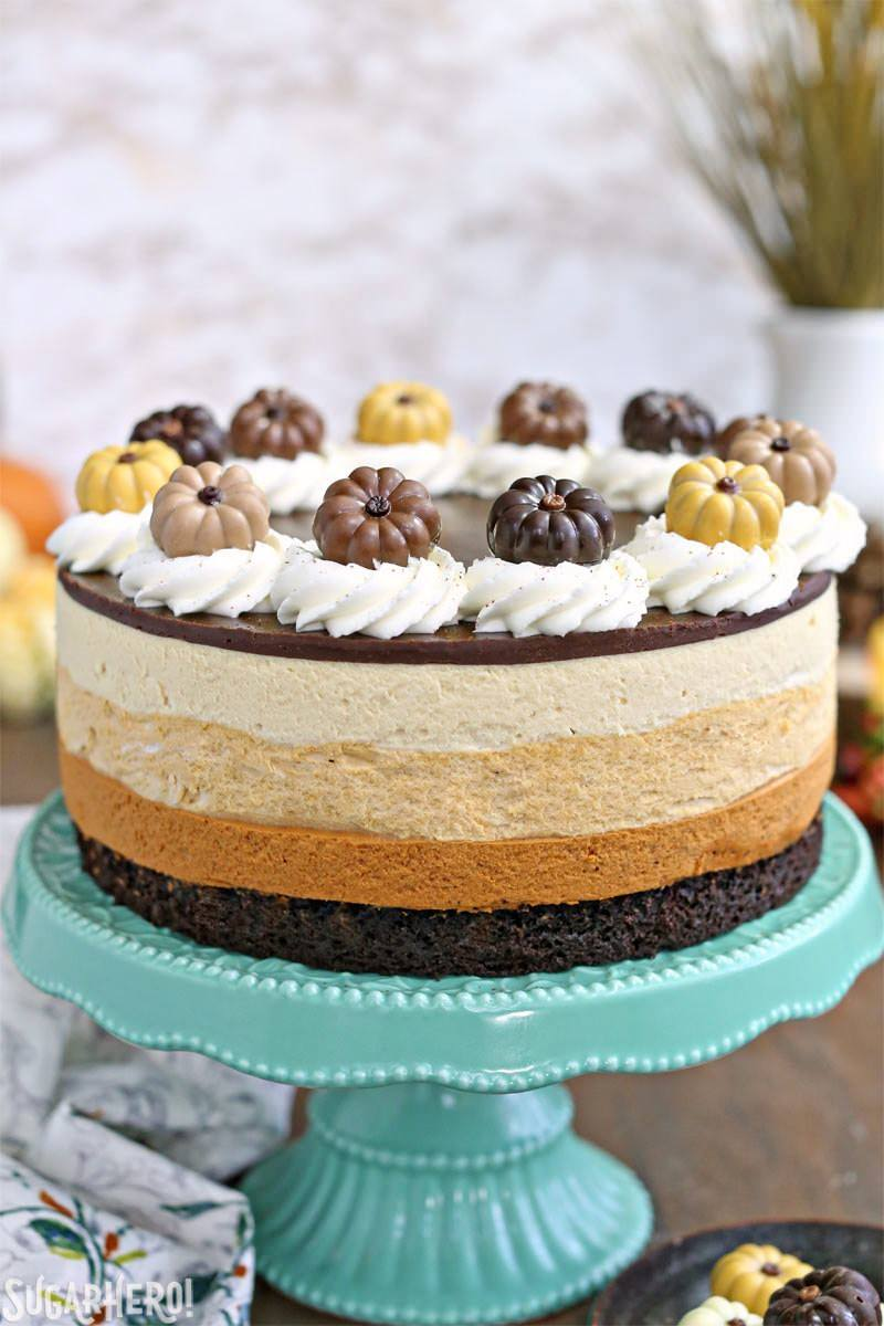 Pumpkin Chocolate Mousse Cake | From SugarHero.com