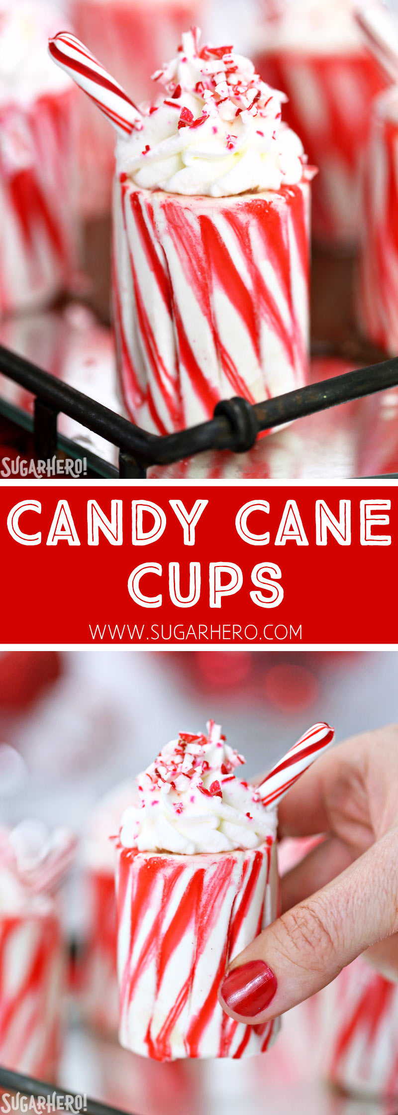 Candy Cane Cups - easy homemade candy cane shot glasses | From SugarHero.com