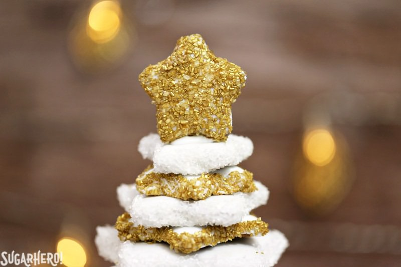 Gingerbread Christmas Cookie Tree - a gorgeous dessert tree made entirely from gingerbread cookies! It's a beautiful and delicious Christmas dessert | From SugarHero.com