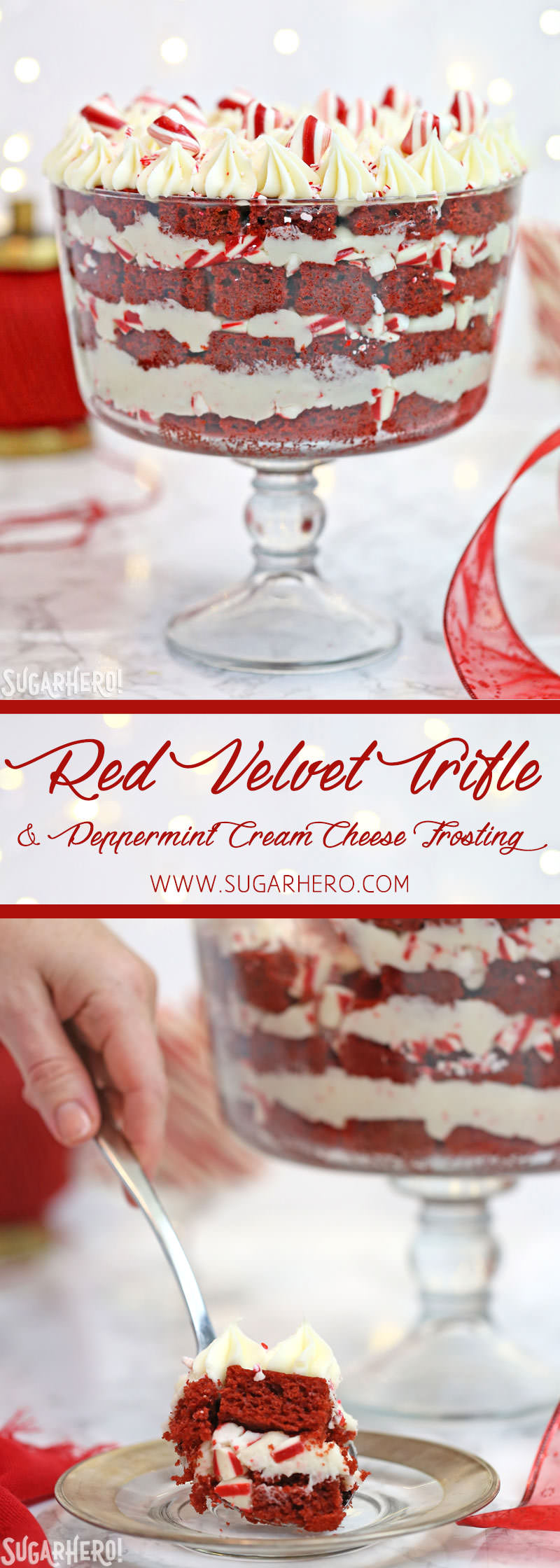 Red Velvet Trifle with Peppermint Cream Cheese Frosting | From SugarHero.com