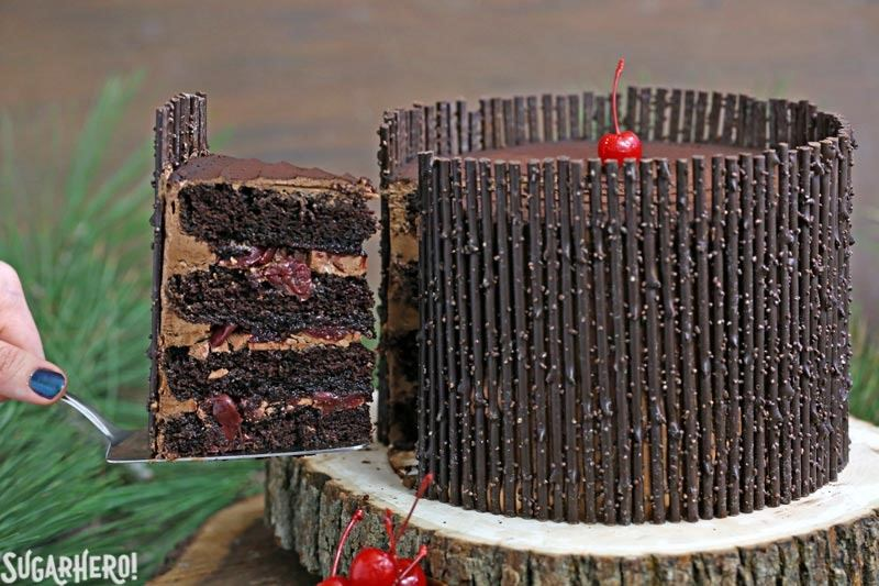 Black Forest Cake - the classic chocolate-cherry cake with chocolate twigs! | From SugarHero.com