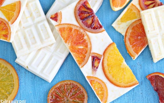 Candied Orange White Chocolate Bars | From SugarHero.com