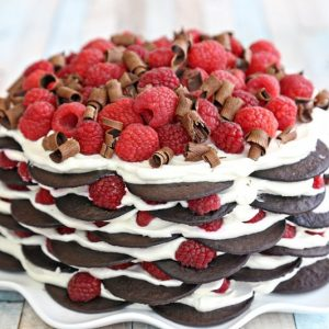 Chocolate Raspberry No-Bake Cake | From SugarHero.com