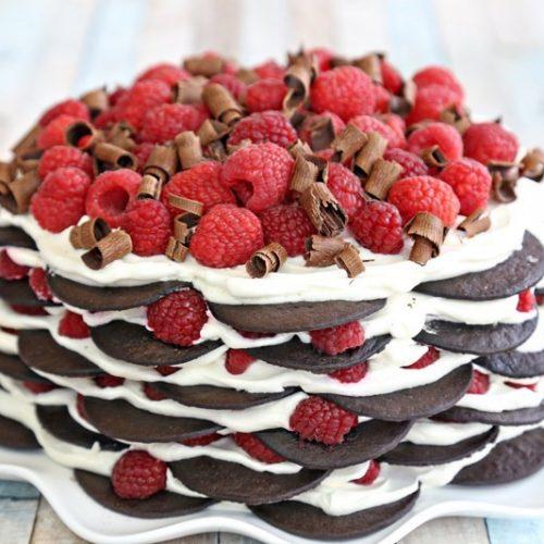 Chocolate Raspberry No-Bake Cake