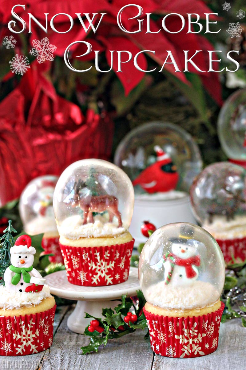 Snow Globe Cupcakes with Gelatin Bubbles - every part of these snow globes is entirely edible! | From SugarHero.com