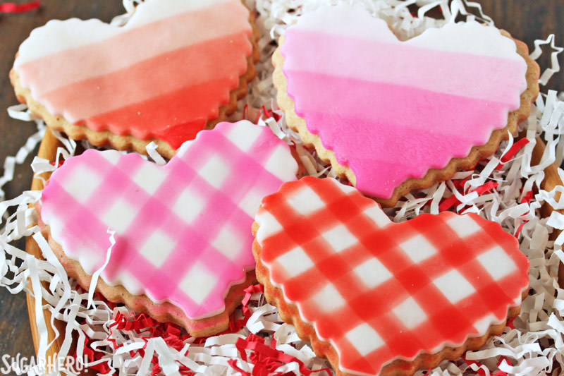 Brown Butter Heart Cookies - brown butter sugar cookies with pretty patterns for Valentine's Day! | From SugarHero.com