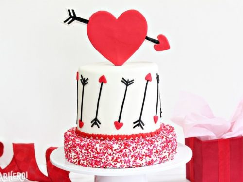Pink And Red Velvet Valentine S Day Cake Sugarhero