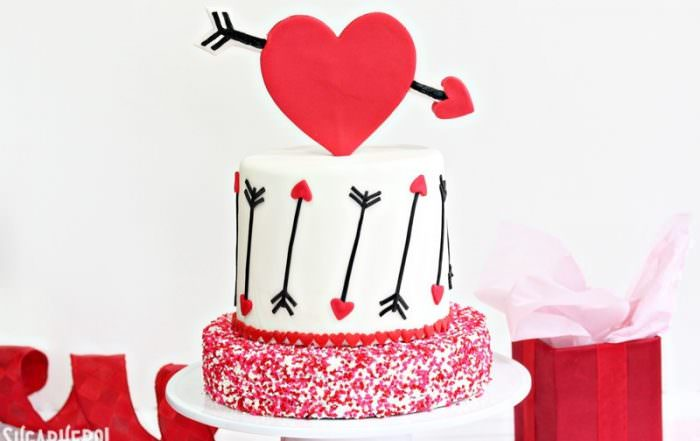 Pink and Red Velvet Valentine's Day Cake | From SugarHero.com