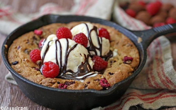 Raspberry Truffle Skillet Cookies | From SugarHero.com