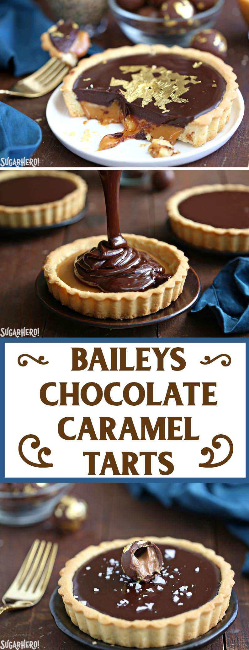 Baileys Chocolate Caramel Tarts - gorgeous mini tarts with a Baileys salted caramel filling and Baileys chocolate ganache!