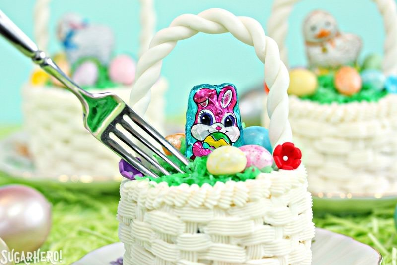 Easter Basket Cupcakes - jumbo chocolate cupcakes transformed into cute, edible Easter baskets! | From SugarHero.com