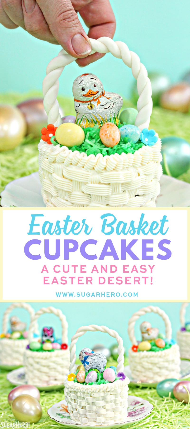 Easter Basket Cupcakes   From SugarHero.com