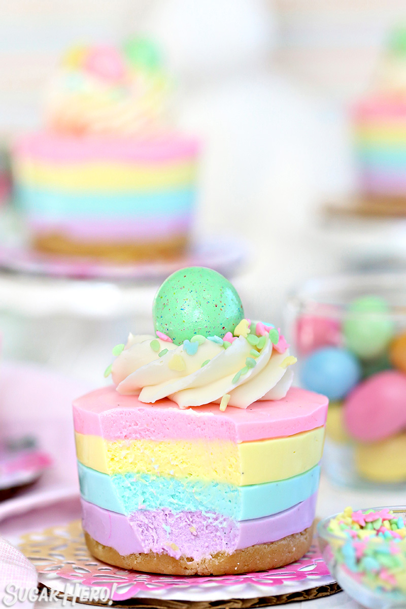 Easter No-Bake Mini Cheesecakes - pastel striped cheesecakes that are ...