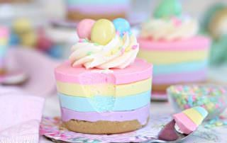 Easter No-Bake Mini Cheesecakes | From SugarHero.com