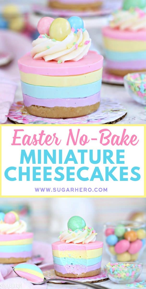 Easter No-Bake Miniature Cheesecakes | From SugarHero.com