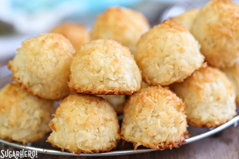 Coconut Macaroons - gluten-free coconut cookies that are golden and crispy on the outside, soft and chewy on the inside. | From SugarHero.com