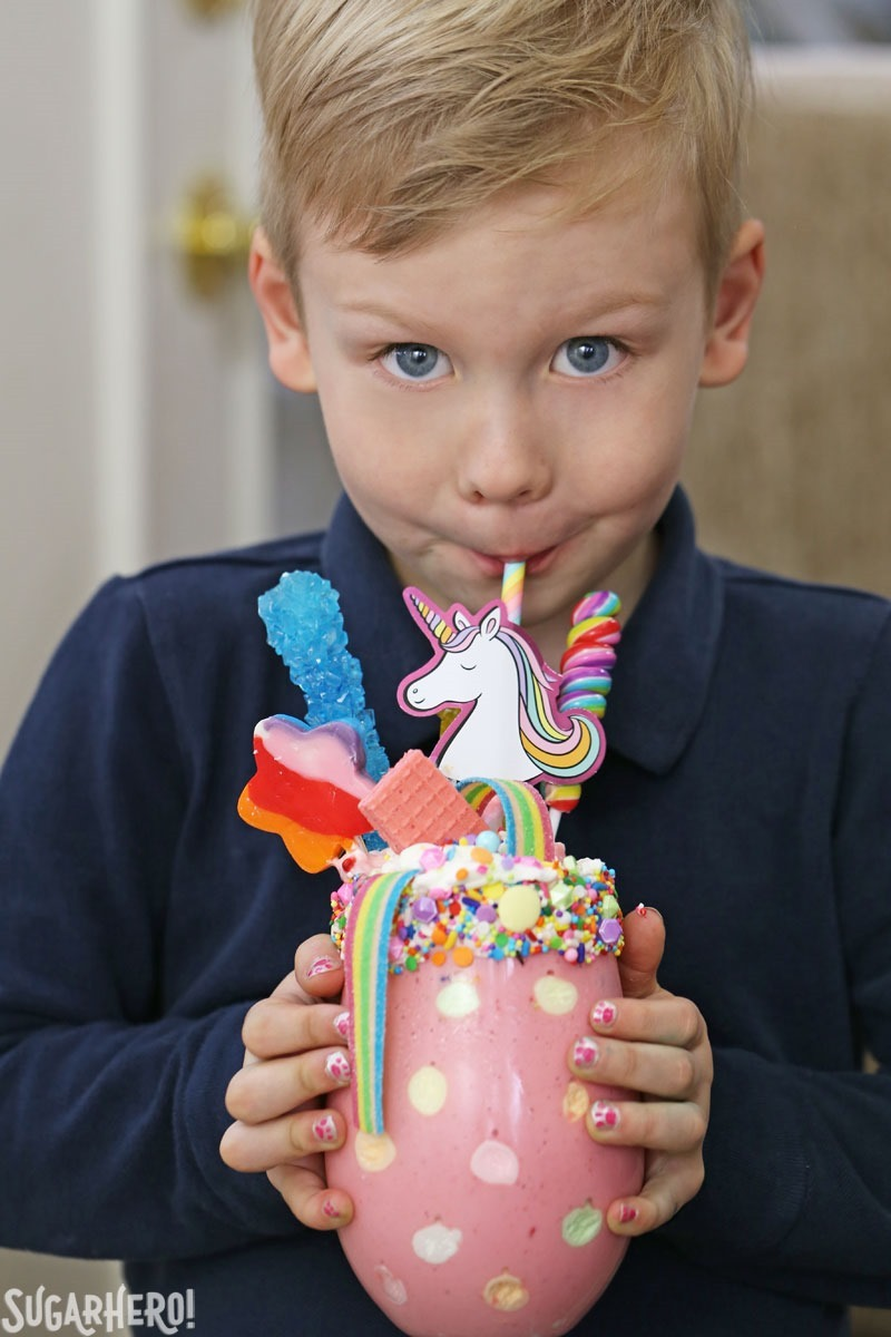 Unicorn Milkshakes - kids and adults alike will love this fun and colorful milkshake. | From SugarHero.com