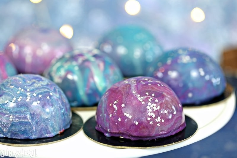 Galaxy Mousse Cakes with Mirror Glaze | From SugarHero.com