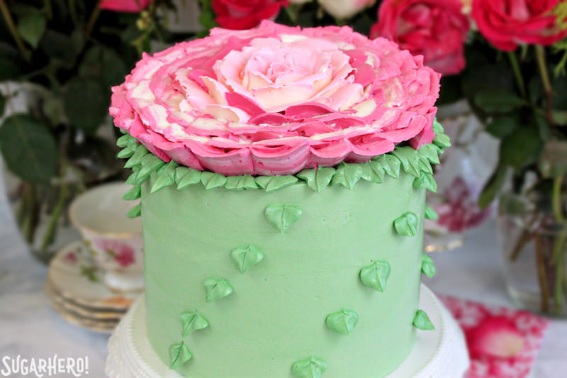 Giant Rose Cake | From SugarHero.com