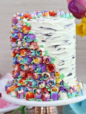 Spring In Bloom Layer Cake | From SugarHero.com