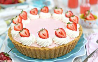 Strawberry Lemonade Ice Cream Pie | From SugarHero.com