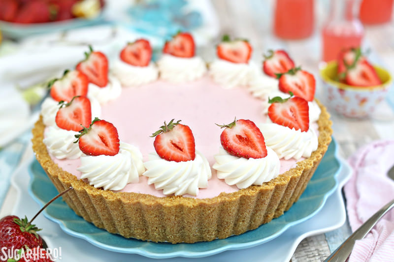 Strawberry Lemonade Ice Cream Pie | From SugarHero.com