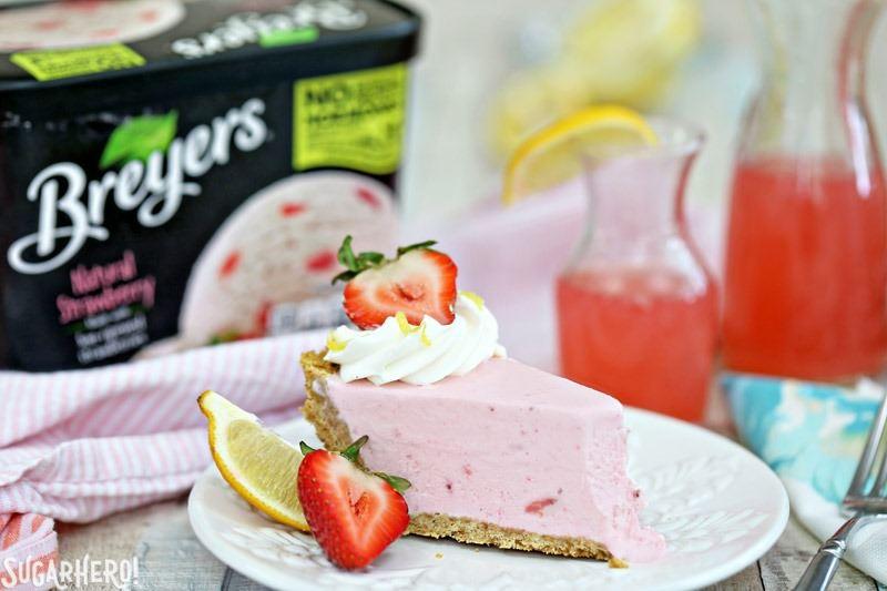 Strawberry Lemonade Ice Cream Pie - an easy and refreshing ice cream pie in a graham cracker crust! | From SugarHero.com