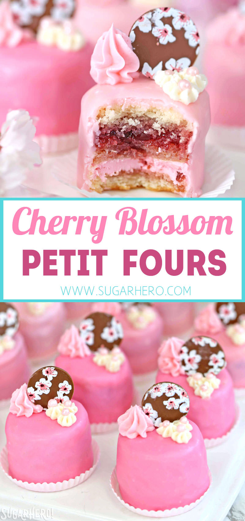 Cherry Blossom Petit Fours - cute little cake bites filled with cherry buttercream and jam! | From SugarHero.com