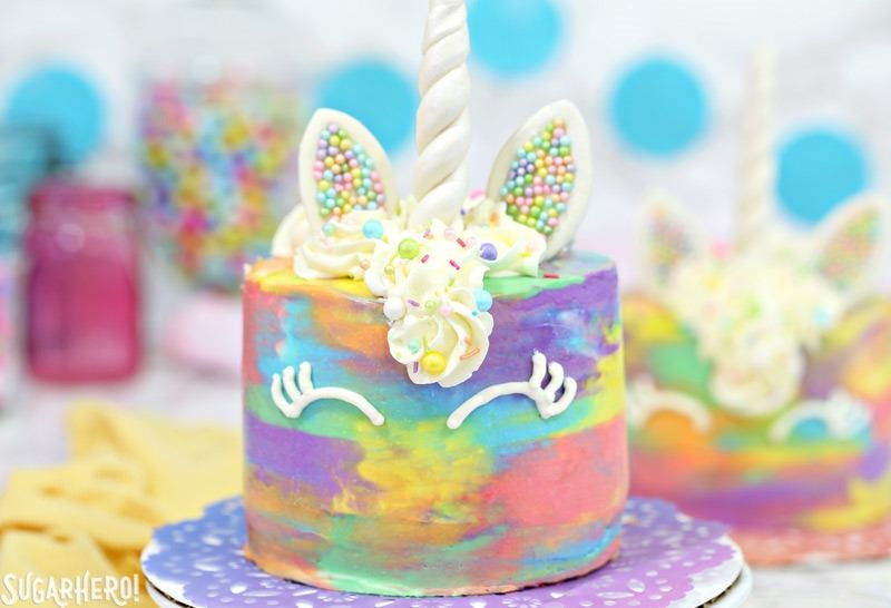 Unicorn Cakes - colorful miniature unicorn cakes from SugarHero.com