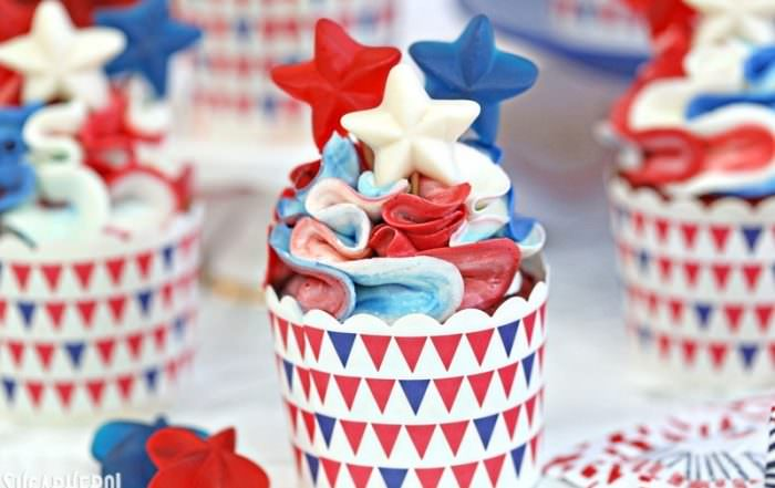 Red White and Blue Cupcakes | From SugarHero.com
