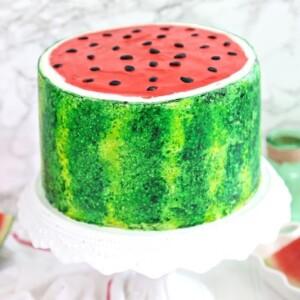 Watermelon Layer Cake | From SugarHero.com